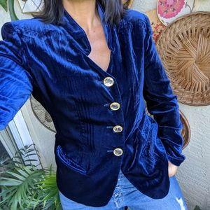Vintage 80s Christian Dior Blue Velvet Blazer Suit